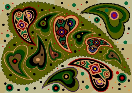 Colored oriental paisley on light green background Vector