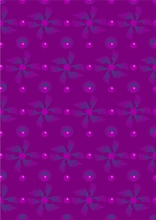 Purple leaves and circles on a violet background.Wallpaper. Vector