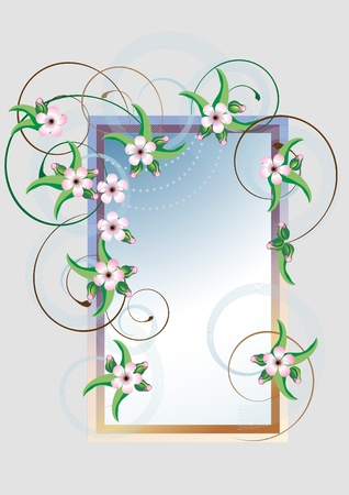 Frame with cherry blossom on a background decoration of the curves. Vector