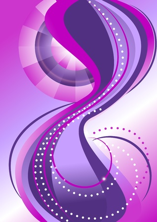 Bands of circles and waves on the background with purple hues Banner. Vector