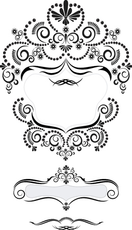Black decorative frame in Oriental style on a white background
