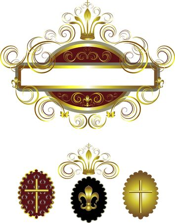 Old frame with a gold cross and crown decorated curves Banner Frame  Vector