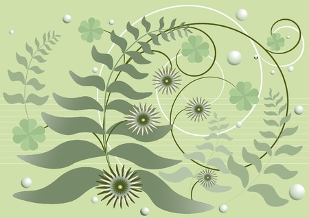 Curved stems with leaves and flowers on a green background Vector