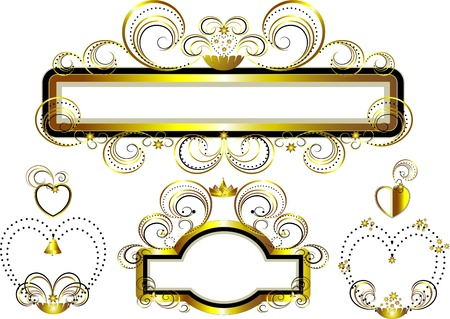 Classic frames decorated with gold stars and curves