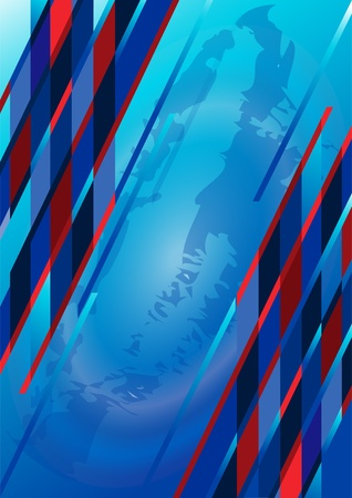Abstract brilliant colored stripes on a blue background