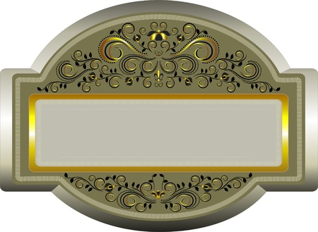 Classic frame with ethnic patterned with gold decoration  Vector