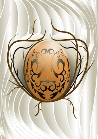 Easter egg with a pattern on the background of thorny twig Stock Vector - 12956061