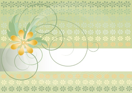 Green background with flowers und  verdure  curl Vector