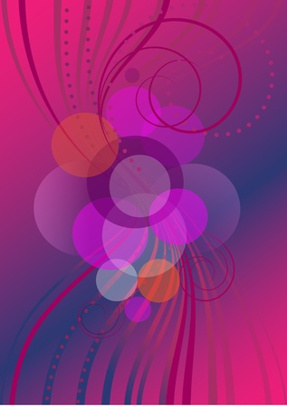 hues: Transparent strips and circles on a background with purple hues Illustration