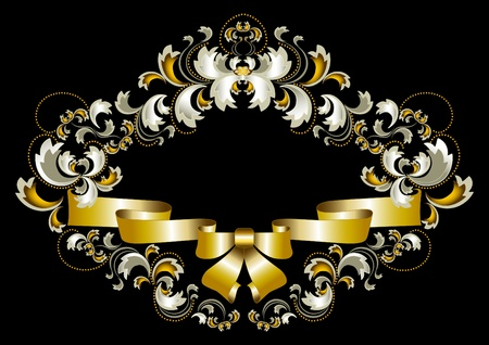 Antique frame ornament with bow and gold decoration on a black background