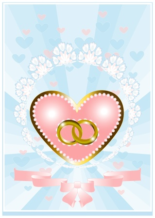 Postcard from the heart and wedding rings on a blue background Vector
