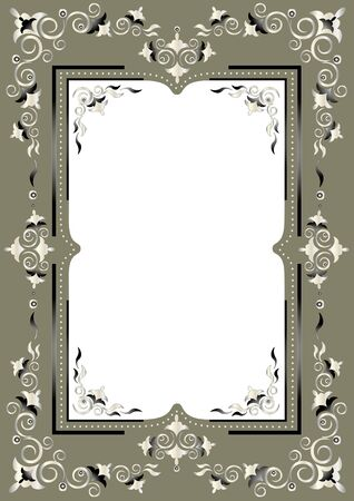 Frame with Eastern decor on a greenish gray background Illustration