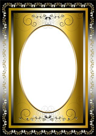 Vintage frame with gold and silver items and graphic decoration Vector