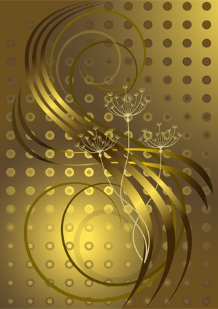 oscillation: Flowers and wavy golden stripes on a brown background  Illustration