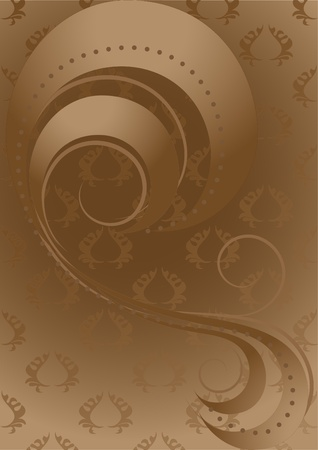 Abstract ribbons and beads on patterned brown background Vector
