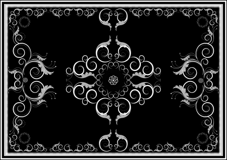 oriental rug: Decorative oriental ornaments for rug in dark background Graphic