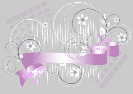 Flowers and purple ribbon on a gray background  Banner  Vector