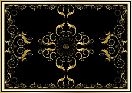 grey rug: Oriental gold ornaments for rug in dark background