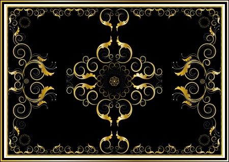 gestickt: Oriental Goldschmuck f�r Teppich in dunklen Hintergrund Illustration