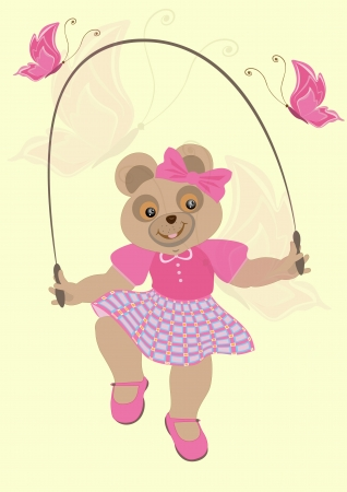 Bear girl in a crimson dress with butterflies jumps over the rope Vector