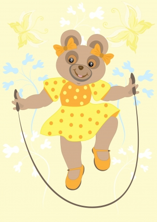 Bear girl in a yellow dress with butterflies jumps over the rope Illustration