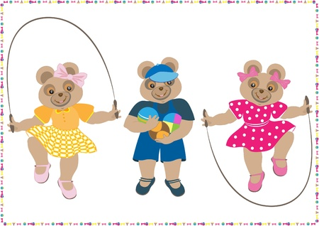 Three little bear with a toy skipping rope and ball