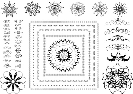 Variants of ornamental frames, borders and other details Graphic  Vector