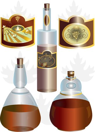 oval  alcohol: Unusual shape of bottles and labels for wine and brandy Illustration