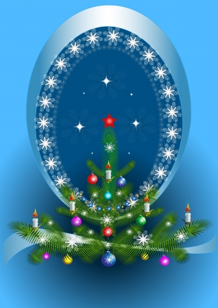 Oval frame with the Christmas tree on blue background Vector