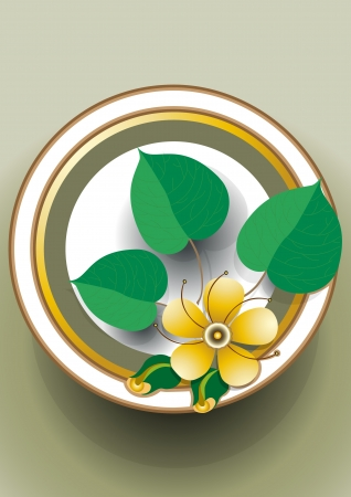 Oval frame with a delicate yellow flower Stock Vector - 13916935