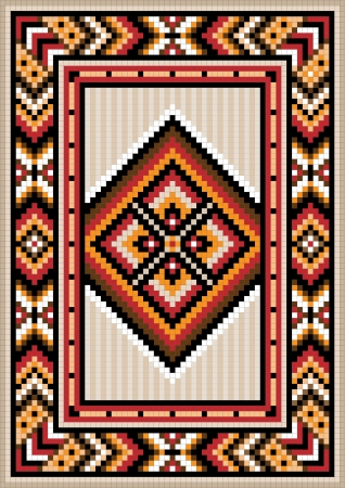 Asian design in the frame for carpet Vector