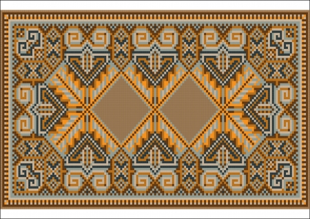 Oriental rug in warm orange brown nuances Stock Vector - 14098919