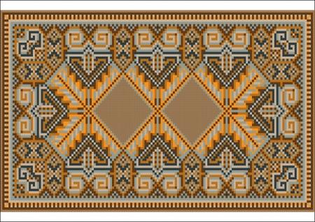 Oriental rug in warm orange brown nuances Stock Vector - 14098919