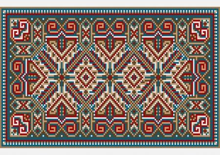 Design ethnic rug in bright colors Vector