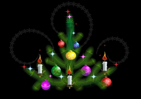 Christmas tree with candles and toys on a black background Stock Vector - 14098923