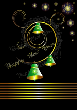 Christmas card with bells on black background Vector