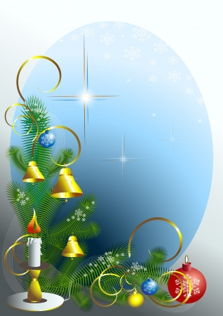 Corner of the Christmas tree with candle   Vector