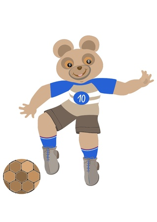 Teddy Bear dressed in sports uniforms playing football Vector