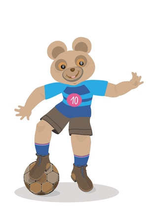 Bear holds the ball with his foot Vector