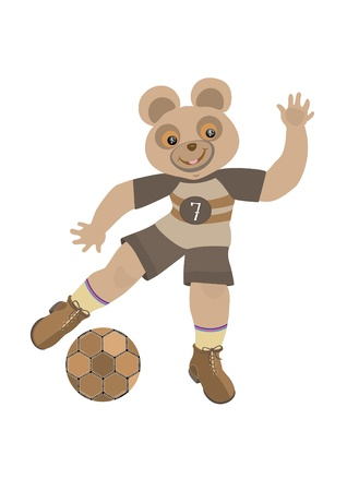 Bear beats the ball with his foot Vector