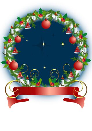 Christmas is round the frame with toys and Holly wreath  Vector
