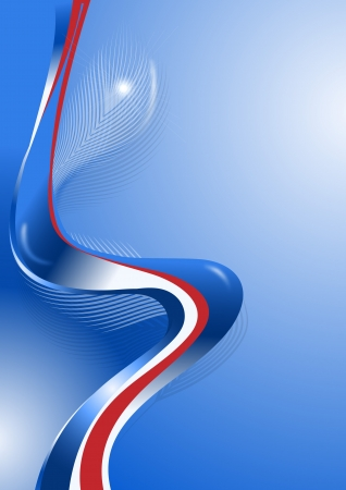 Wavy blue and red lines with the decor of feathers Vector