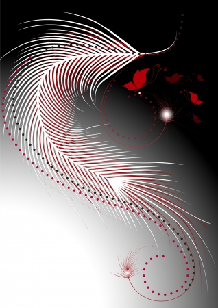 Waves white and red feathers with a decor of beads Vector