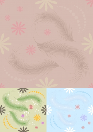 Bright  seamless background with feathers and flowers Vector