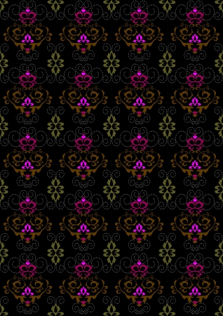 motley: Motley seamless  background with floral ornament