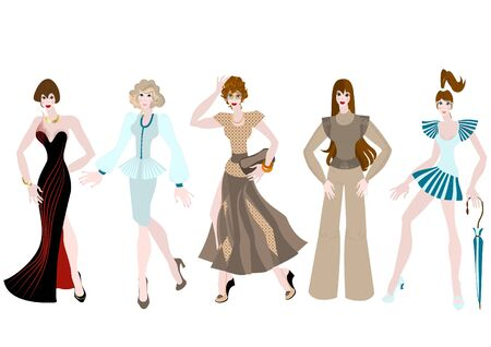 Beautiful girls in different clothing style  Vector