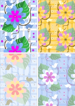 Variations seamless background with flowers and butterflies Vector
