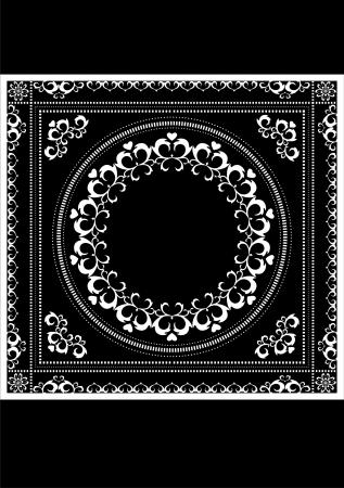 Decorative white pattern frame for napkin on a black background  Vector