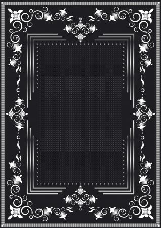 Decorative frame for silver dekor on a black background  Illustration