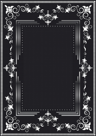Decorative frame for silver dekor on a black background  Vector